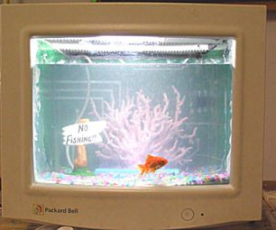 Turn Your Old CRT Computer Monitor Into A Fish Tank ! ! !  http://www.instructables.com/id/Turn-Your-Old-CRT-Computer-Moniter-Into-A-Fish-Tan/?ALLSTEPS