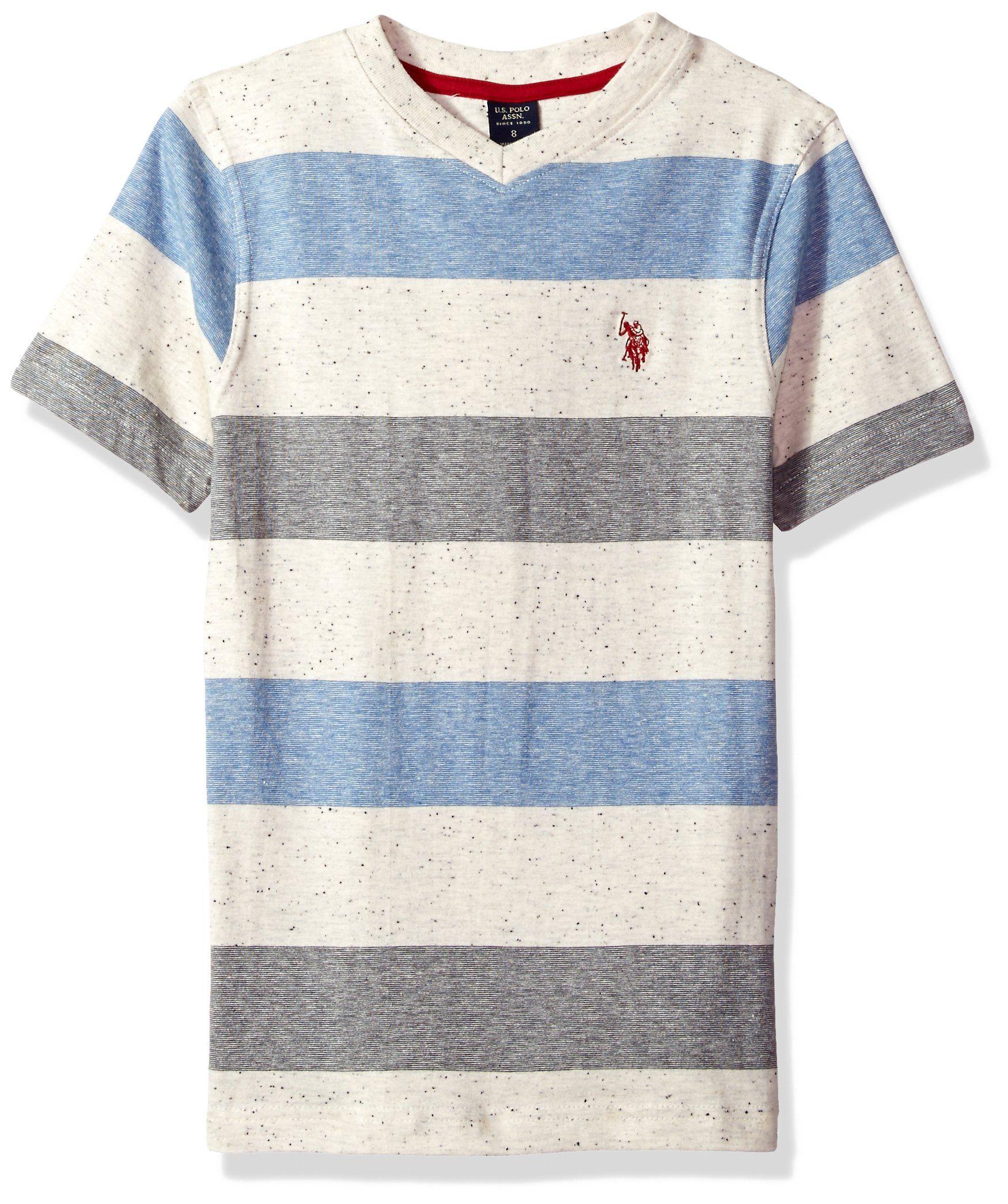 U.S Polo Assn Boys Short Sleeve Striped Crew Neck T-Shirt