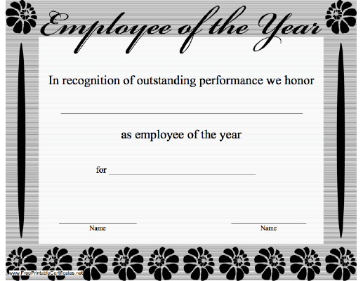 reward your best employee with theis printable employee of the year