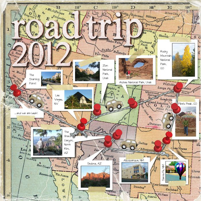 Papercraft scrapbook layout road trip 2012 papercrafting pinterest scrapbook layouts - Scrapbooking idees pages ...