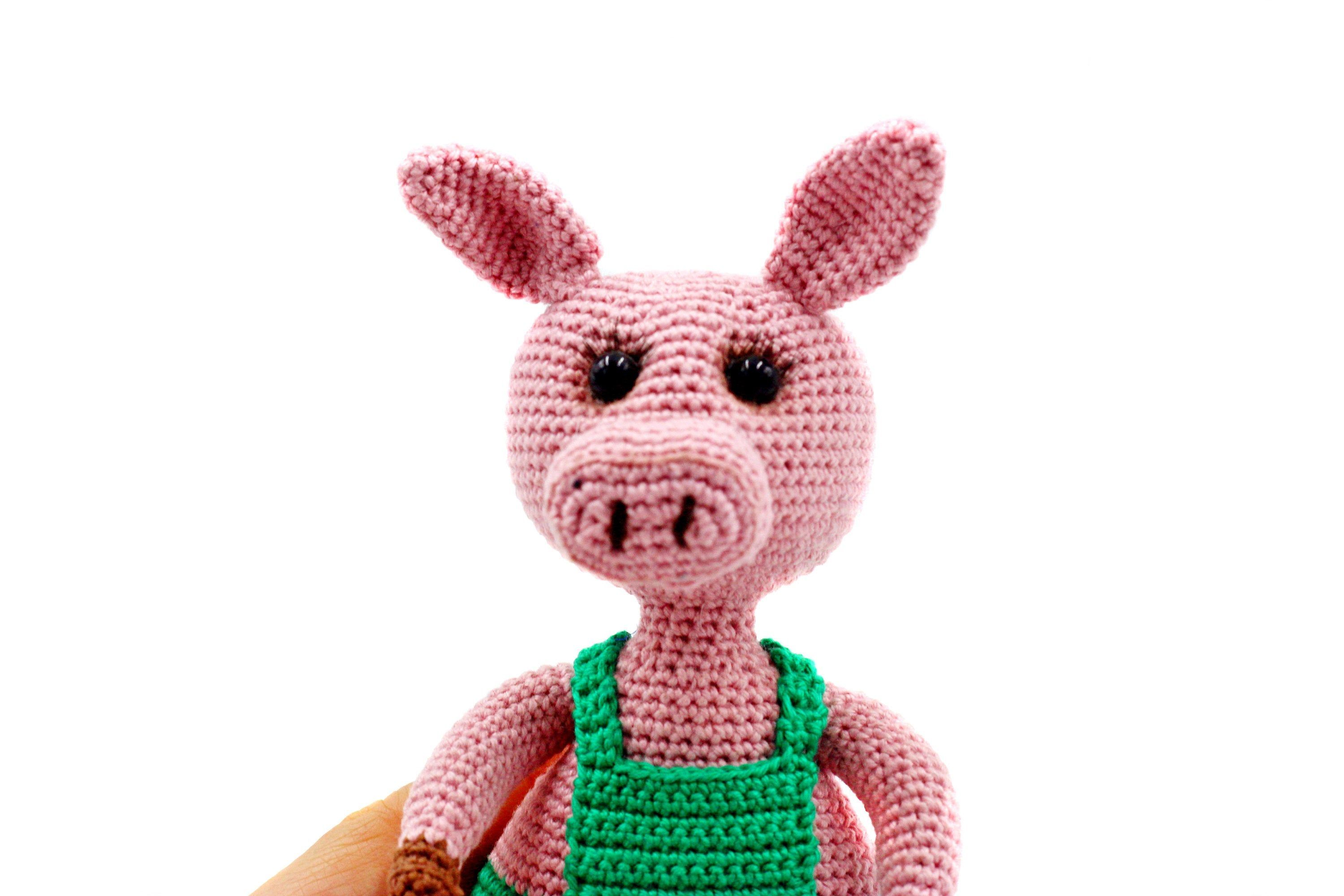 Pink pig crochet, Custom stuffed animal, Toy soft amigurumi pig, Cute funny small pig, Colle...