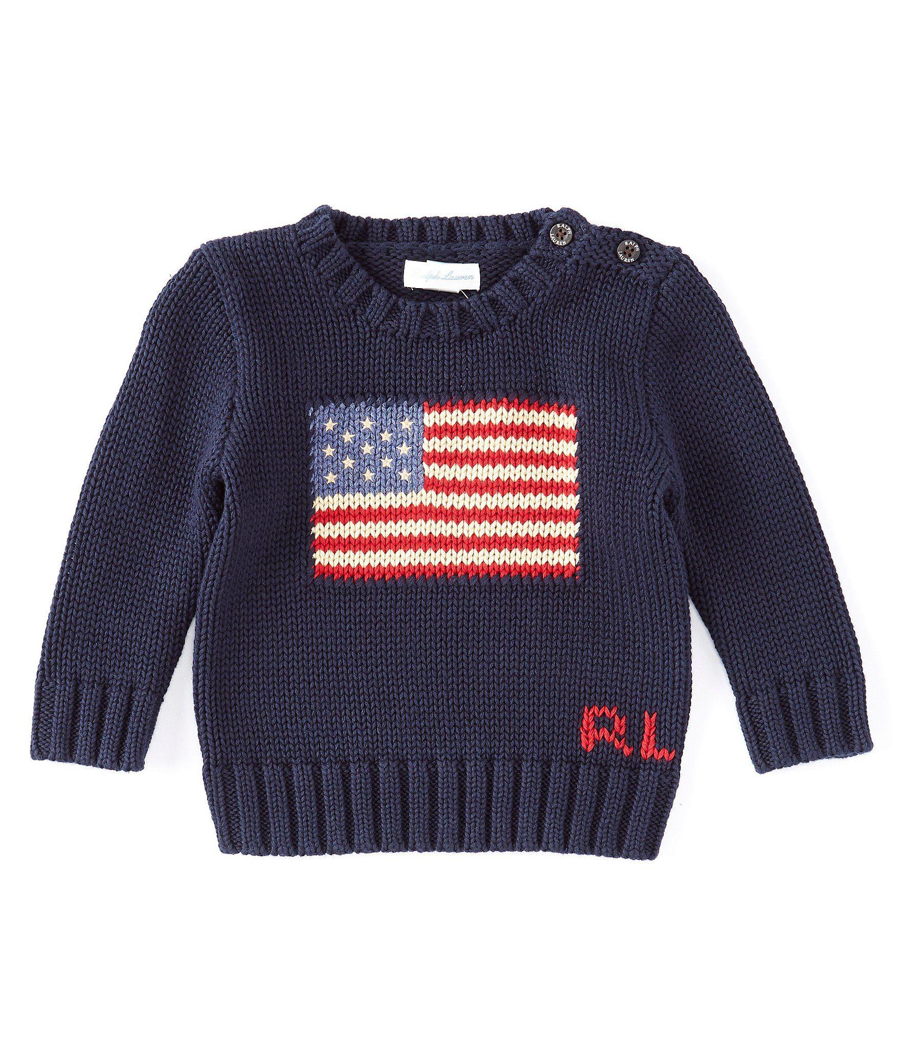Ralph Lauren Childrenswear Baby Boys 3-24 Months Long-Sleeve American Flag Sweater   Dillard's #americanflag