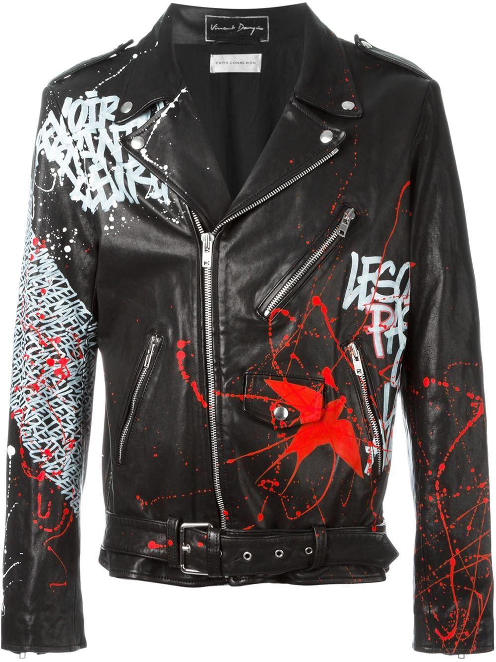 Faith Connexion grafitti biker jacket Custom leather