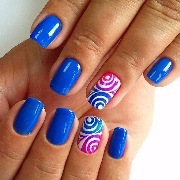 The Multi Round Blue Nail Art Design Blue Color Can Go With Any Other Color Amazingly If You Want An Example Blue Nail Art Designs Blue Nails Nail Designs