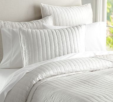 Silk Channel Two Toned Quilt Sham White Bed Set White Bedding Quilted Sham