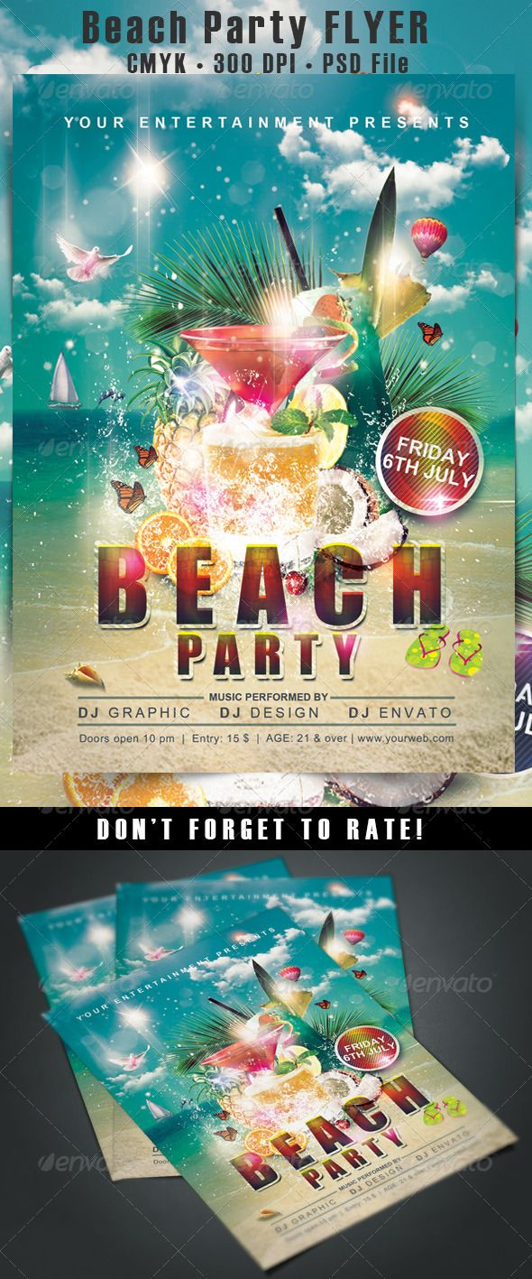 Beach Party Flyer | More Party flyer, Event flyers and Print ...