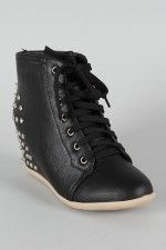 18a214f62bd Dana-08 Studded Spike Lace Up Wedge Sneaker