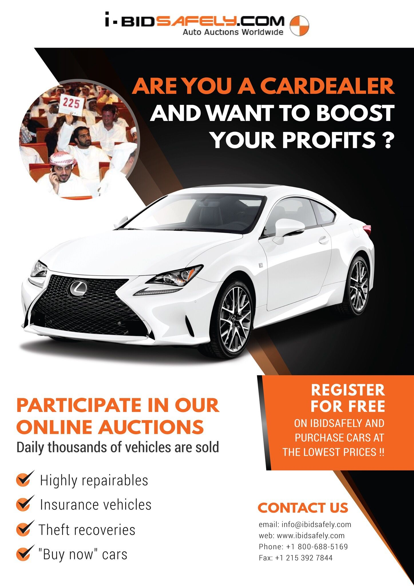 Participate in the online auction of cars Register for free on