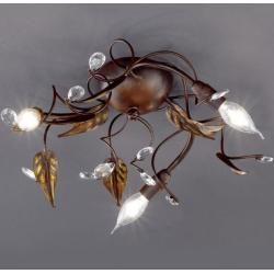 Deckenleuchte Catania Deckenlampe Landhausstil 3-flammig Blattdekor Antik Rost