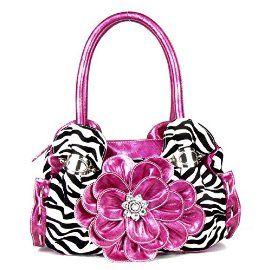 Pink Zebra Print Flower Rhinestone Fashion Purse In Stock: 45