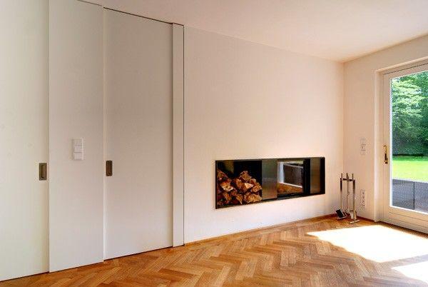 kamin wohnzimmer schiebetren parkett feuer aussicht innenarchitektur - Wohnzimmer Feuer