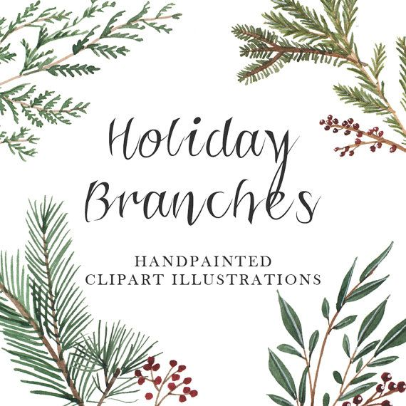 Holiday branches watercolor clipart christmas by