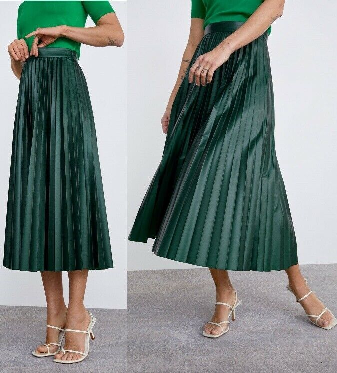 1451e92703 ZARA Emerald Green PU Faux Leather ACCORDION PLEATED MIDI MAXI FLOWING SKIRT  XL #fashion #clothing #shoes #accessories #womensclothing #skirts (ebay  link)