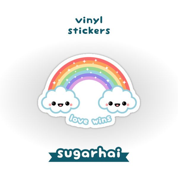 Super cute sparkle rainbow cloud vinyl stickers love wins