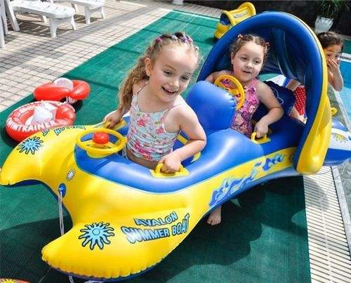 Toddler Baby Sunshade Inflatable Float Seat Boat 2babies Twins Swimming Pool Twins And Babies
