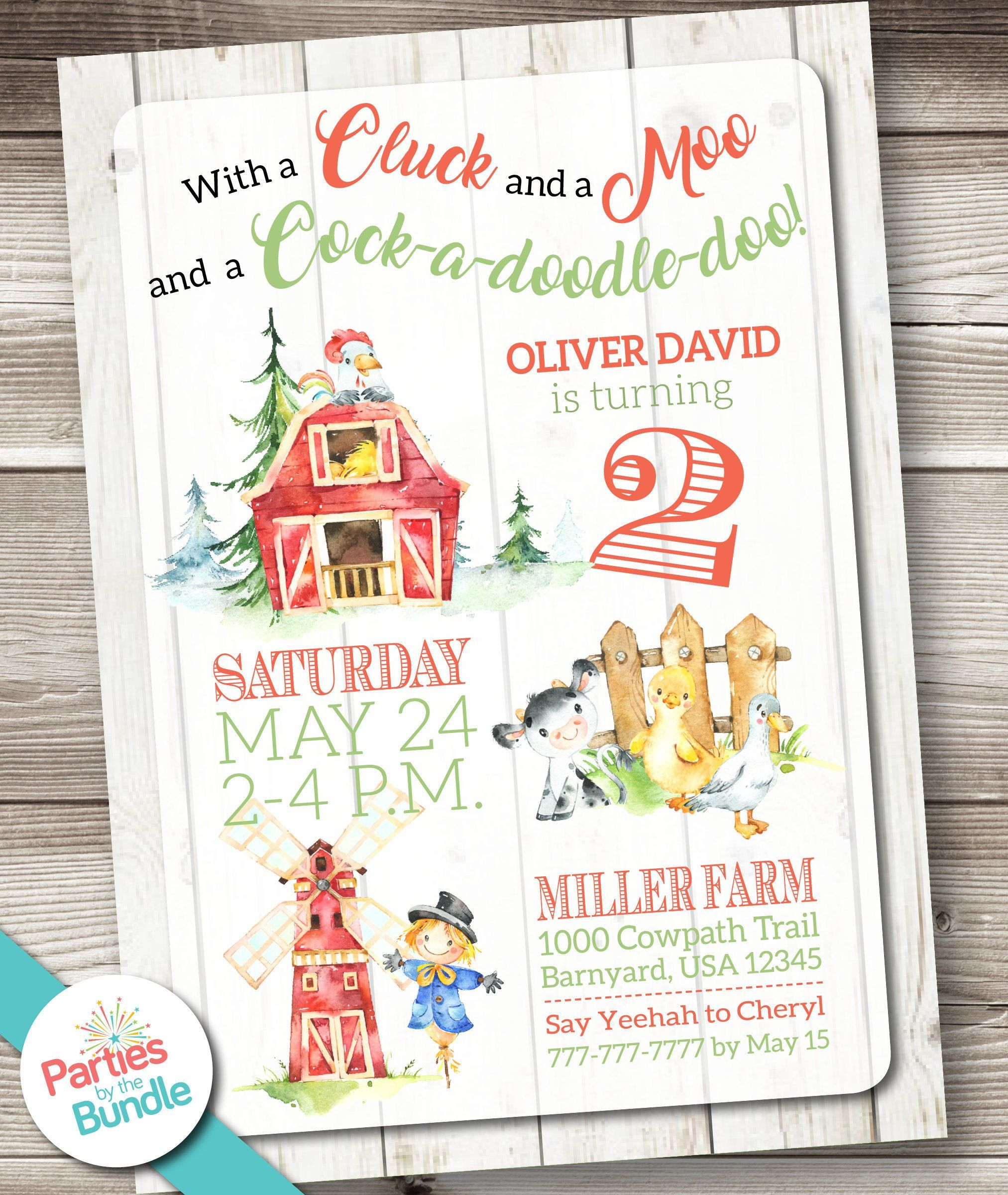 Barn Invitation Barnyard Birthday Invitation Barnyard Birthday