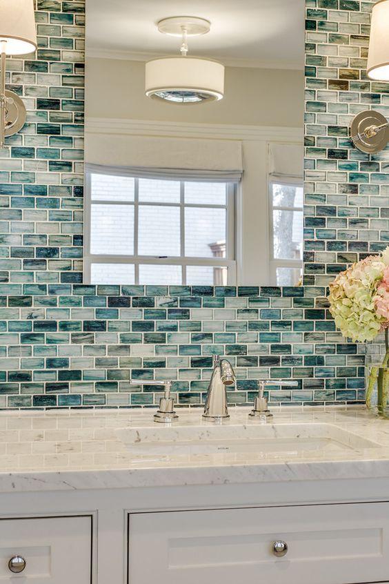 30 Diseños de baños decorados con azul turquesa Diseño de baño