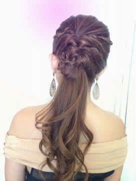 編み込みポニーテールヘアアレンジ(結婚式の髪型) オロ ORO