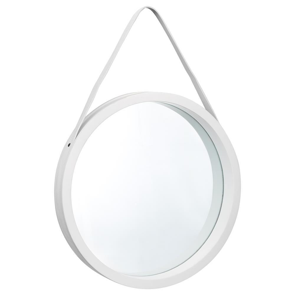 miroir rond avec sangle en simili cuir salle de bain. Black Bedroom Furniture Sets. Home Design Ideas