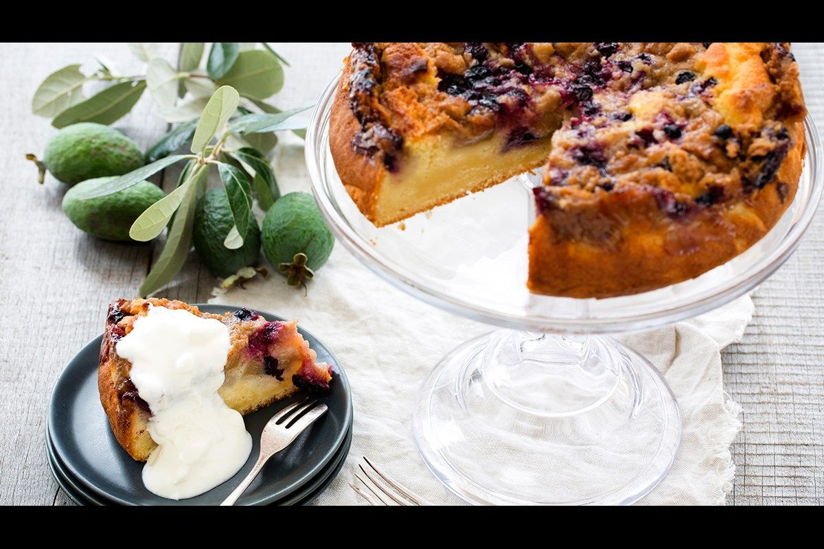 Feijoa And Blueberry Buttermilk Cake Recipe Buttermilk Cake Recipe Recipes Feijoa