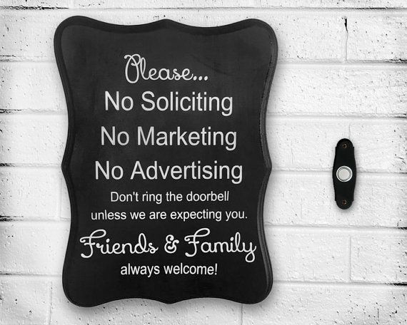 Handpainted Wooden No Soliciting No Marketing No Advertising