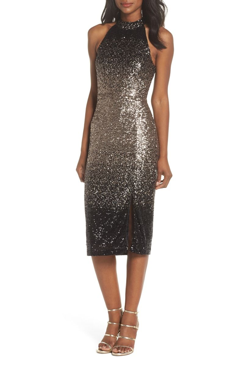 Free shipping and returns on Forest Lily Ombré Sequin Halter Dress at  Nordstrom.com. f66137562226