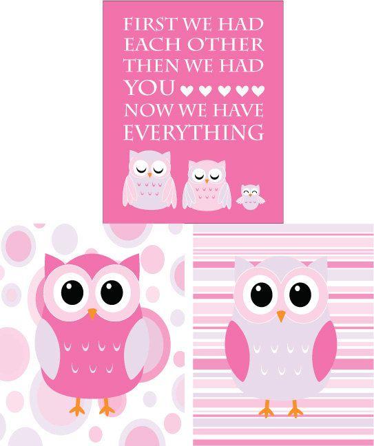 Pink And Purple Nursery Owl Decor Set Of 3 8x10s
