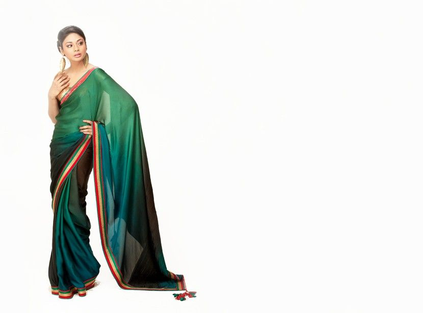 Lovely emerald and dark green ombre silk saree from Ambi Saree