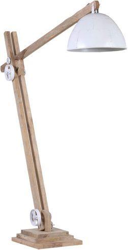 Stehleuchte aus Metall und Mangoholz. B/H/T: ca. 38/150-200/60-165cm.