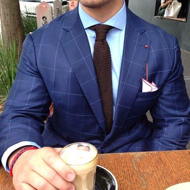 windowpane blue knitted brown tie bracelets coffee