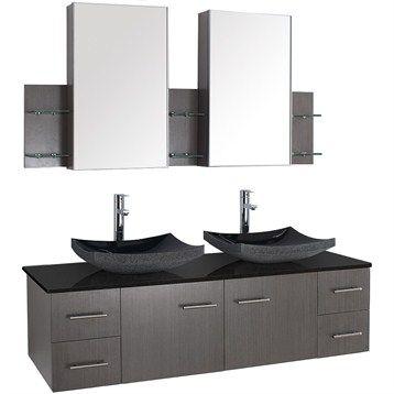 Bianca 60 Wall Mounted Double Bathroom Vanity Gray Oak Finish