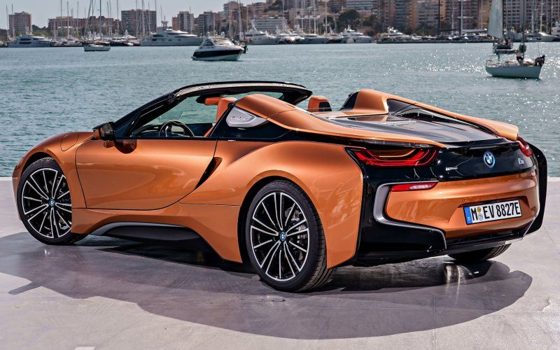 Wallpaper Bmw I8 Side View Orange Sports Car Convertible Cars