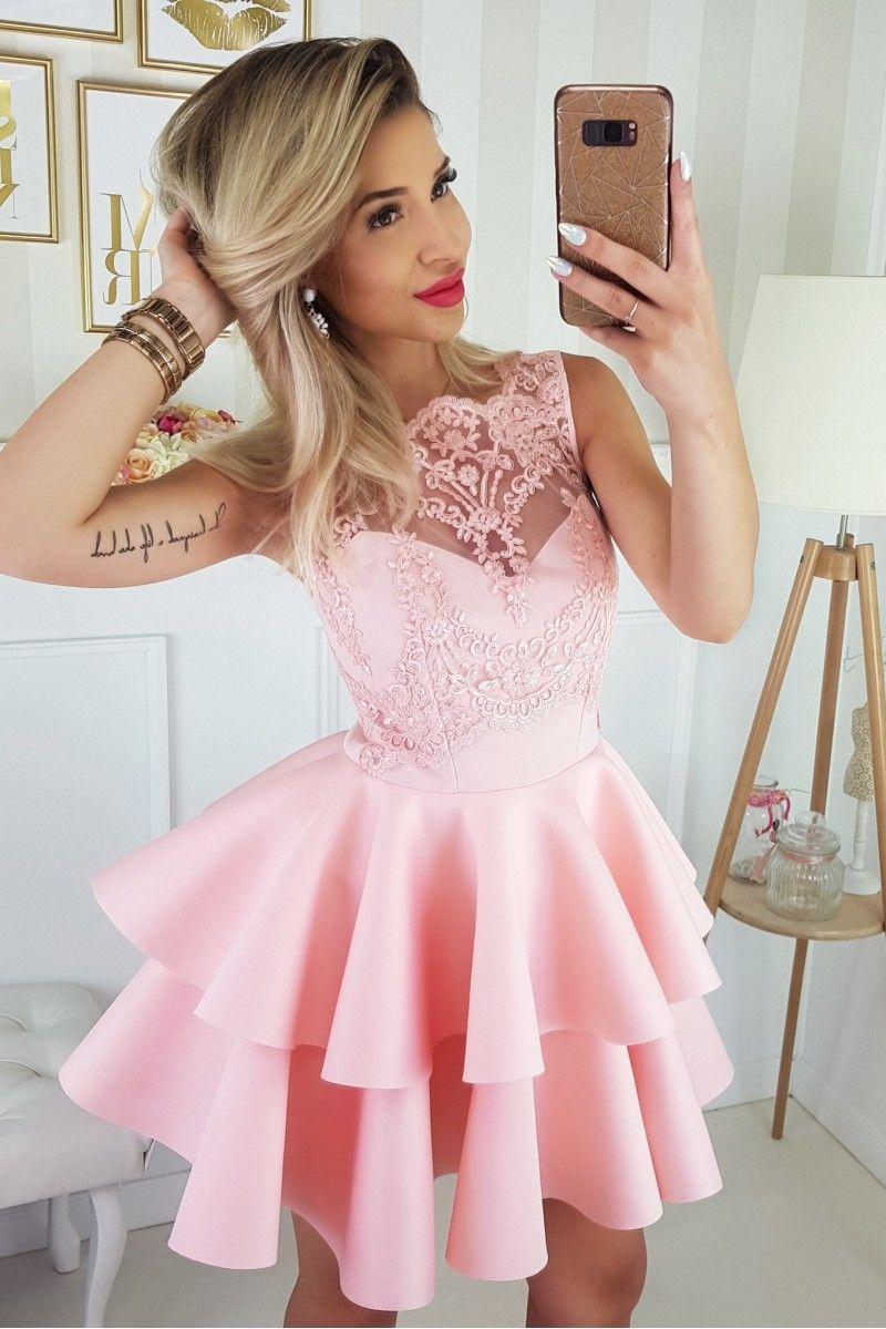 3bb2961d0a Sukienka rozkloszowana koronkowa gorsetowa różowa z falbankami ...