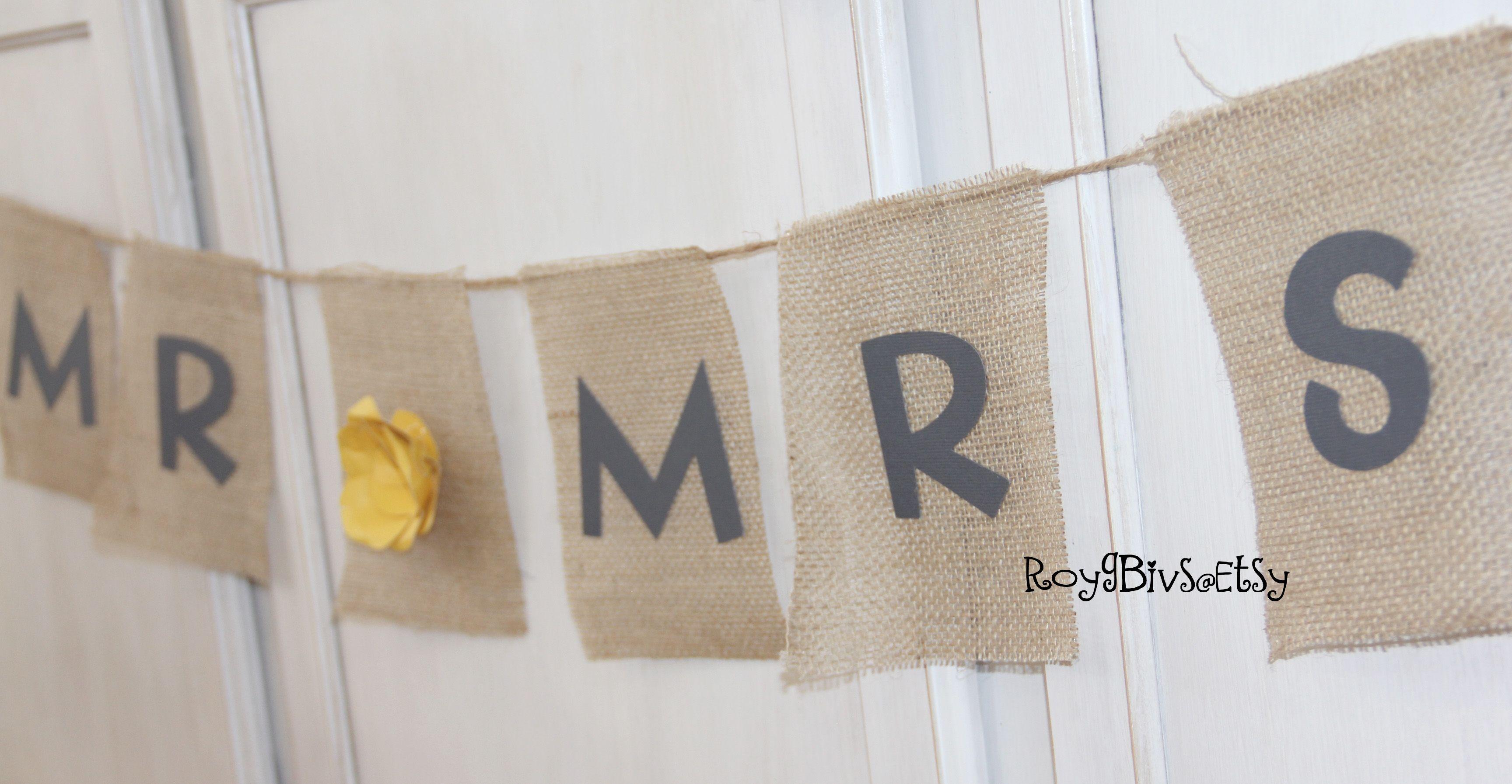 Mr & Mrs Burlap Banner
