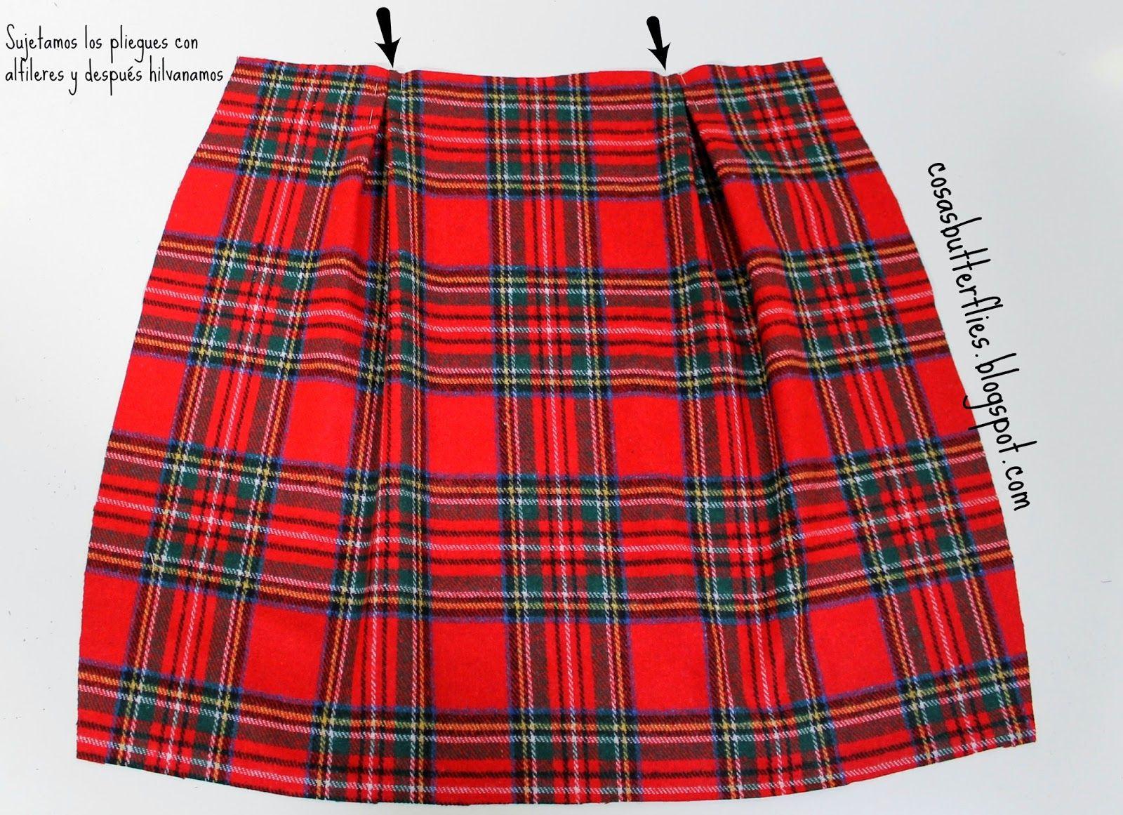 DIY Tutorial y patrón gratis de falda con cuadros tartán | Aprender manualidades es facilisimo.com