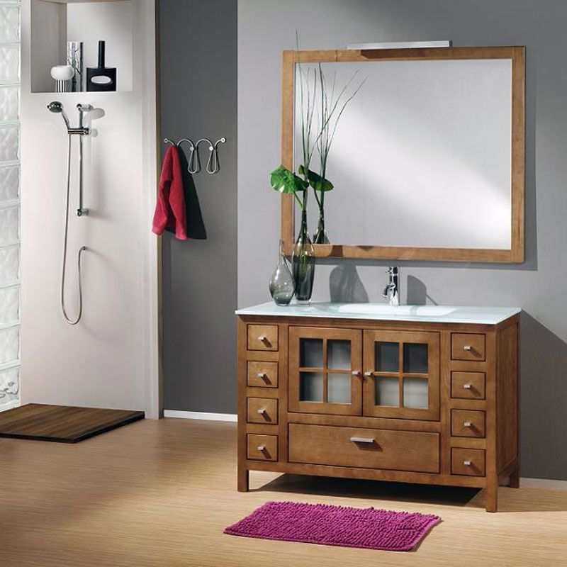 Mueble de ba o colonia 120 cm fabricado en madera natural for Muebles de bano en madera natural