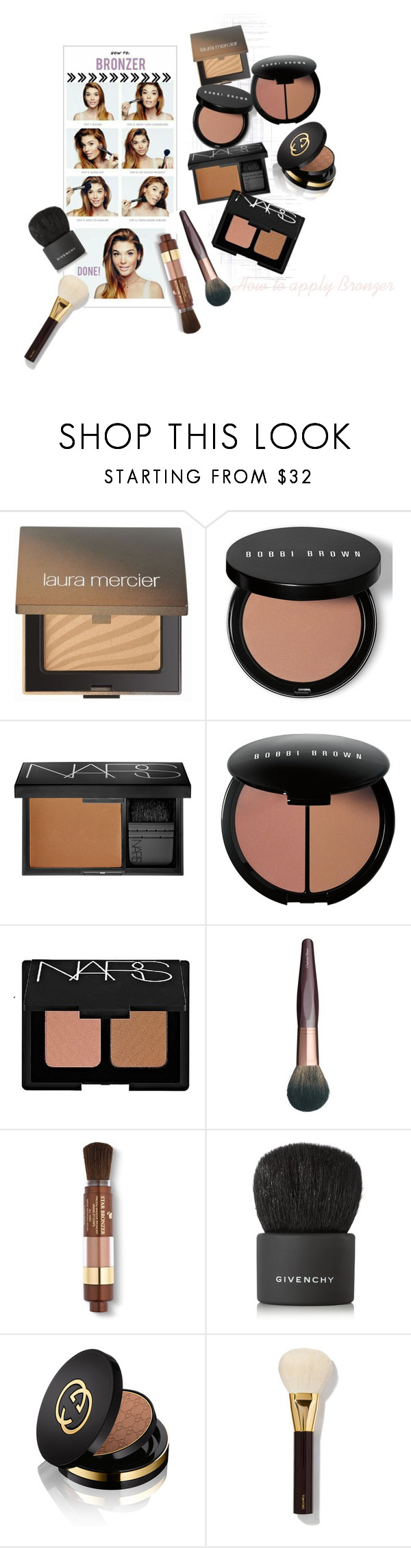 """""""Sunkissed"""" by emi-the-queen ❤ liked on Polyvore featuring beauty, Laura Mercier, Bobbi Brown Cosmetics, NARS Cosmetics, Charlotte Tilbury, Lancôme, Givenchy, Gucci and Tom Ford"""