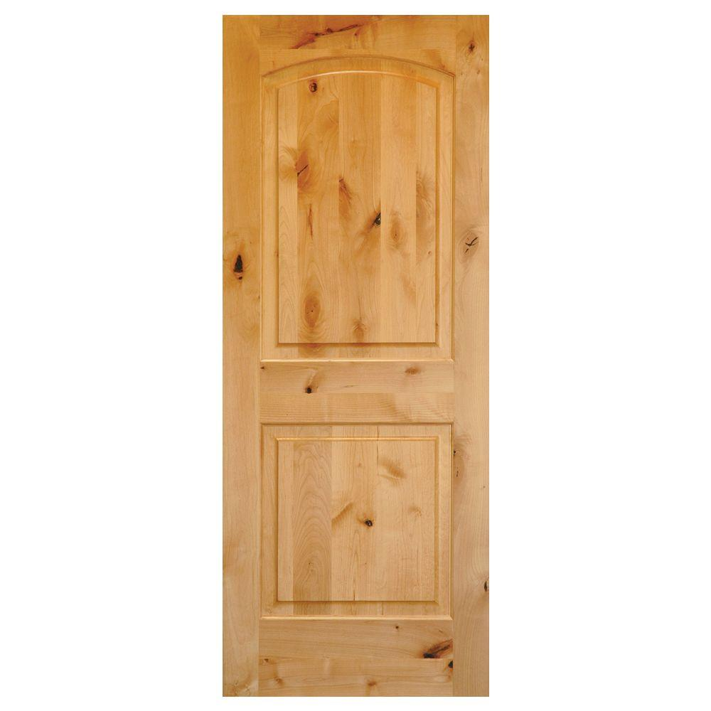 Krosswood Doors 30 In X 80 In Rustic Knotty Alder 2 Panel Top Rail Arch Solid Core Wood Stainable Interior Door Slab Ae 1213080slb The Home Depot Pine Interior Doors Wood Doors Interior