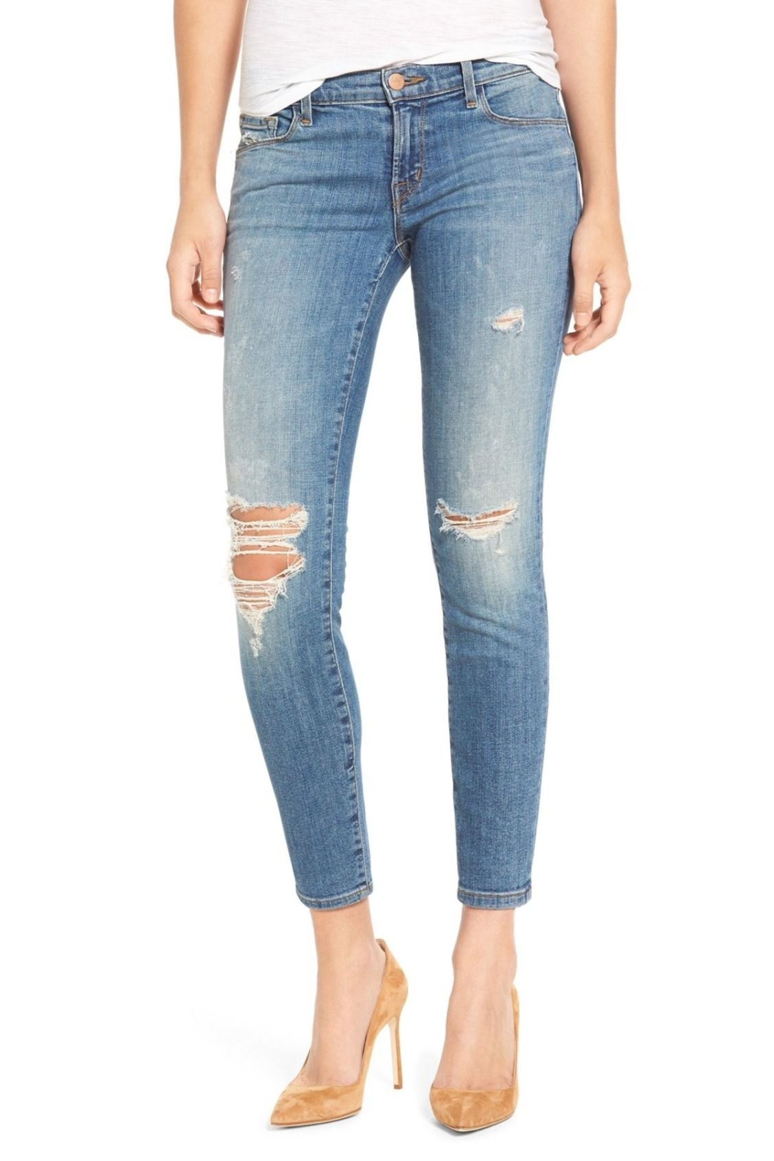 eca99c909 You'll live in these J Brand Ripped Crop Skinny Jeans | Fashion style