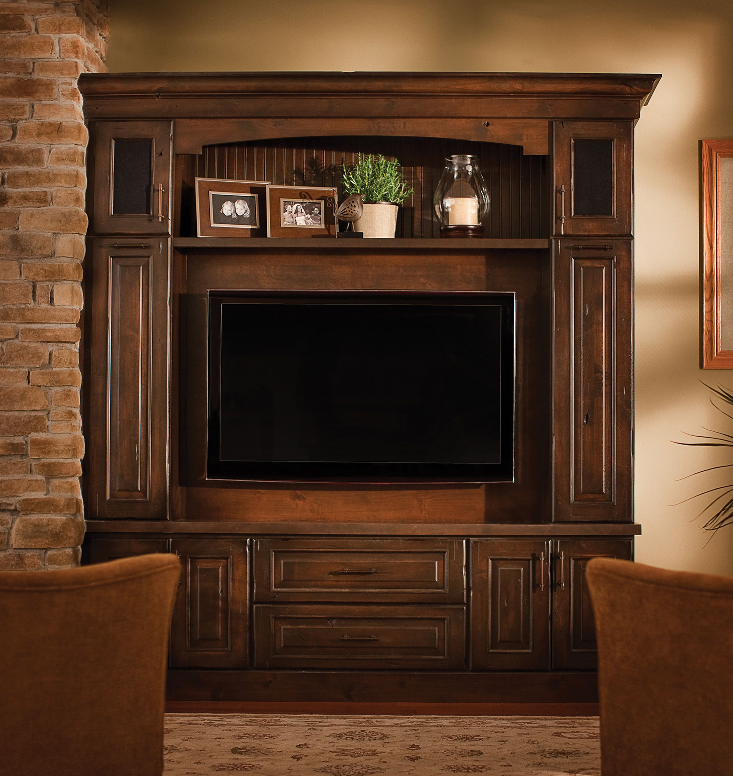 "This Dura Supreme entertainment center is shown with the ""Montego"