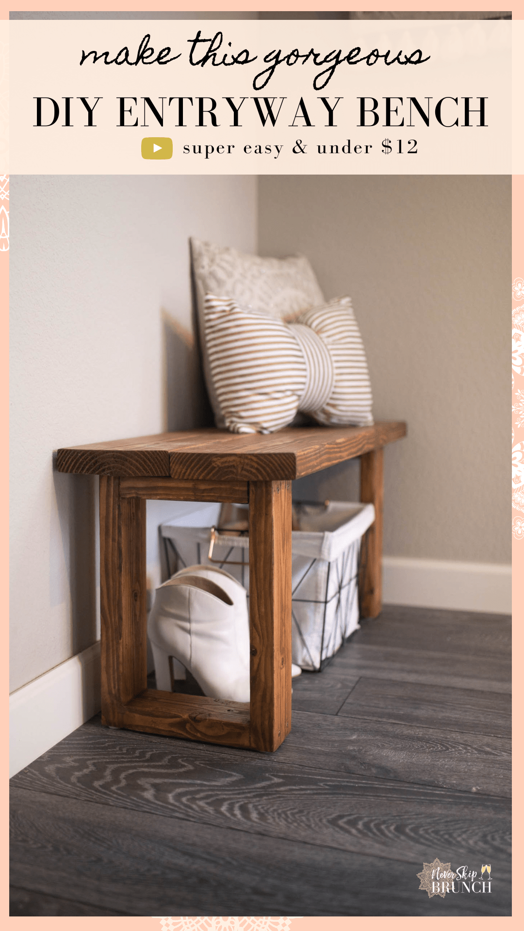 Make This Gorgeous Diy Entryway Bench For Under 12 Diy Entryway Bench Diy Entryway Diy Entryway Table