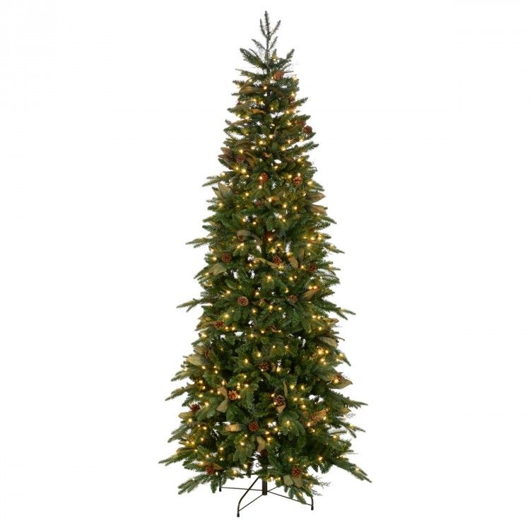 A Great Slimmer Profile Christmas Tree A Profusion Of Pe And Pvc Branches Sprinkled With Fern Like Stems Slim Christmas Tree Christmas Tree Small Pine Cones