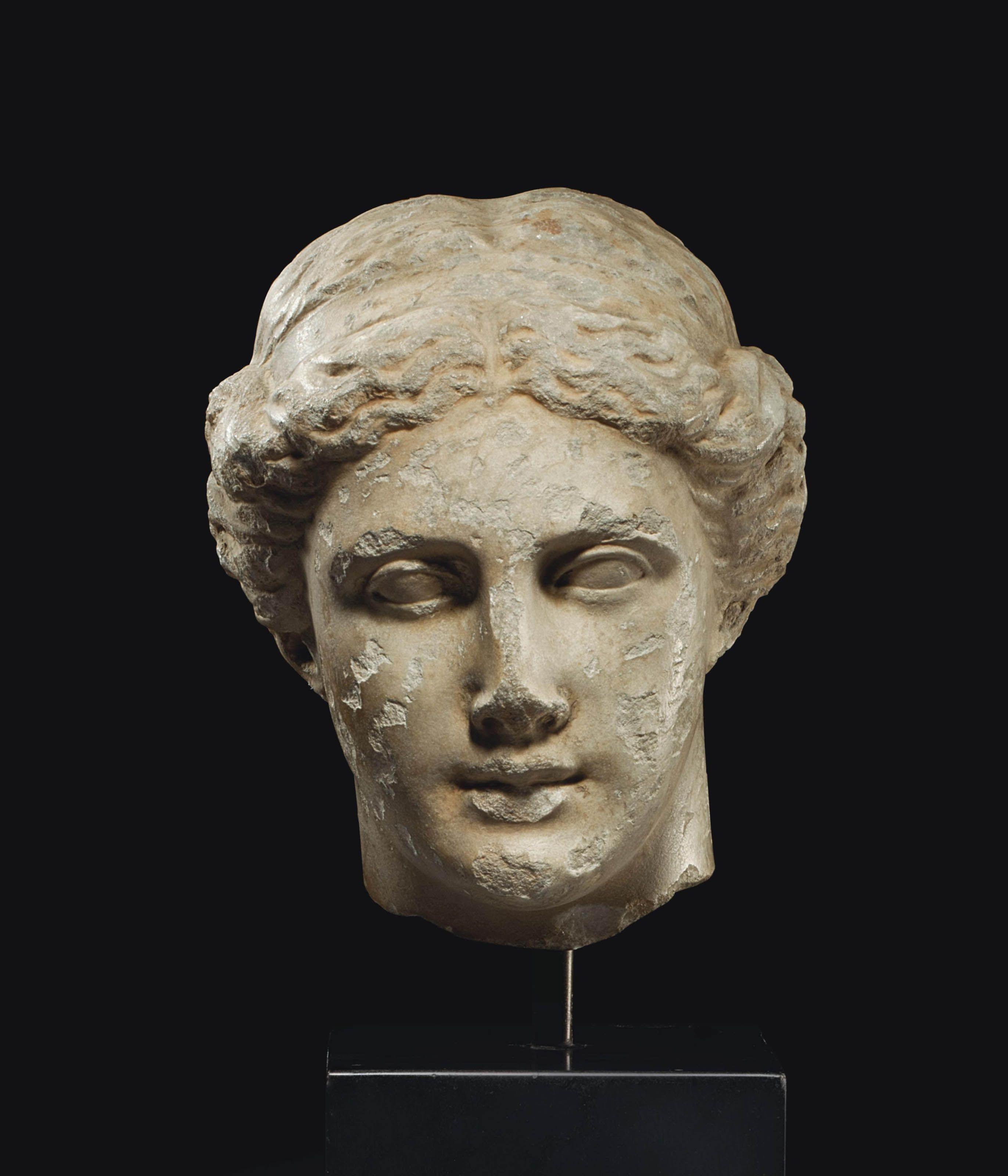 Greek Marble Head Of A Goddess Classical Period Circa Late 5th Early 4th Century B C Greek Statues Roman Sculpture Goddess Sculpture