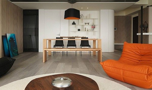 Asian Modern Apartment for Tropical Atmosphere Orange Couch In