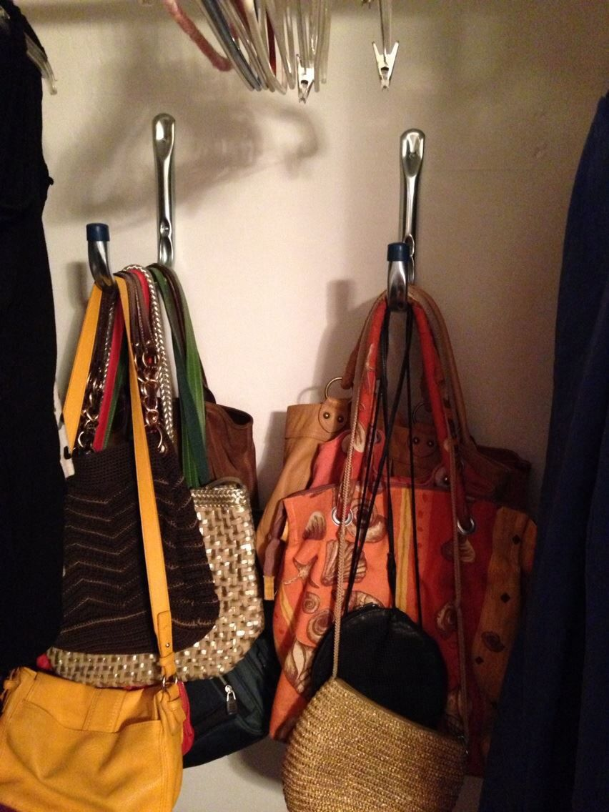 Ladder Hooks Garden Hose Holder Were Used To Hang Purses In Closet Organizing Purses In Closet Garden Hose Holder Hose Holder