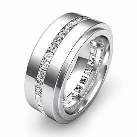 1.70 Ct Channel Princess Diamond Eternity Mens Wedding Band in 14k White Gold
