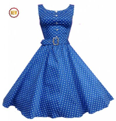 2240d235b0 Sleeveless 50s Blue & White Small Polka dot Rockabilly Dress AVAILABLE @  Modern Grease Clothing & Accessories Co.