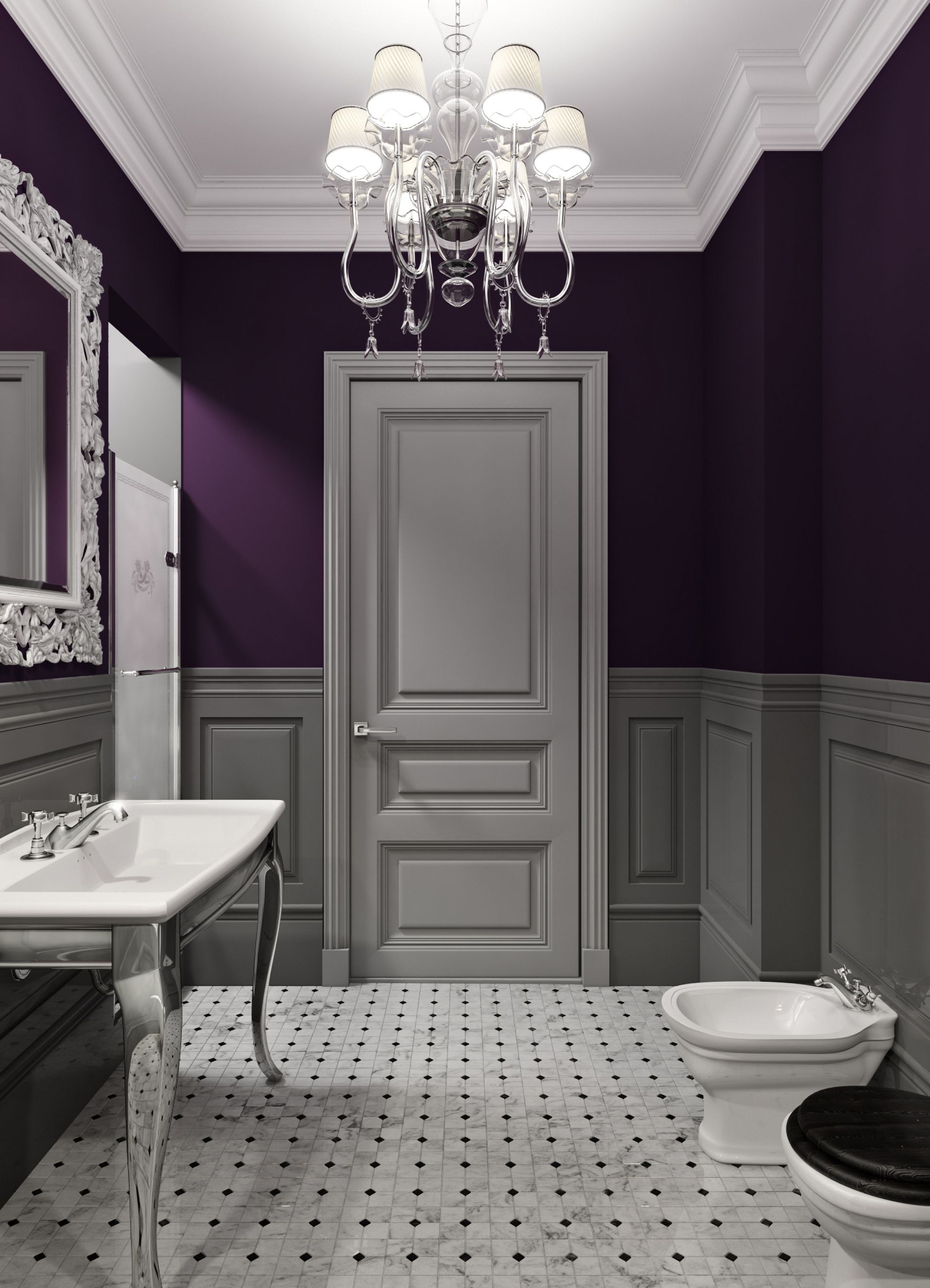 Purple Is A Very Victorian Color And With This Renovation The Color Works Beautifully By Keeping The Old Purple Bathrooms Small Bathroom Decor Bathroom Colors