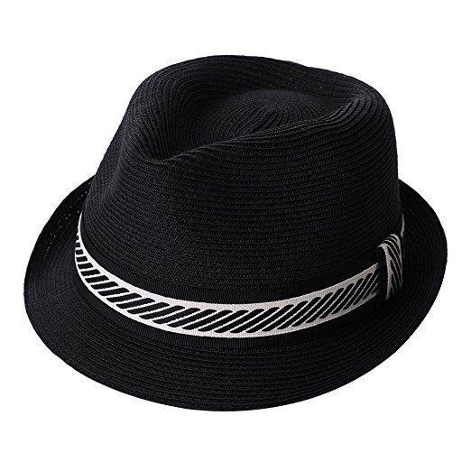 374d3da3766 SiggiHat Fedora Straw Fashion Sunhat Packable Summer Panama Beach Hat Men  Women 56-61CM at