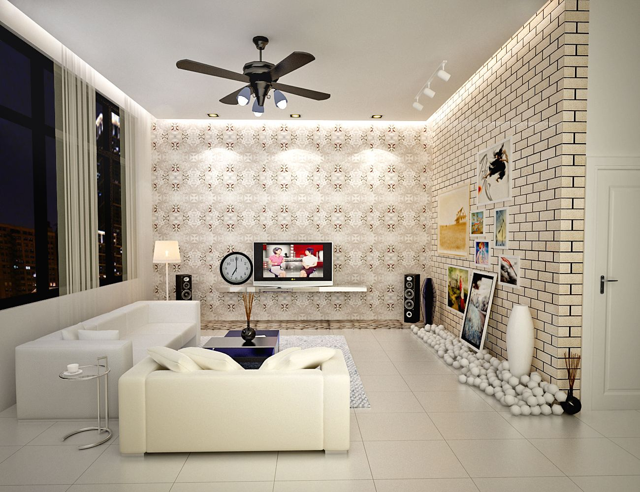 Interior Ideas Of The White Scheme Living Room For Apartment Design With  Contemporary White Leather Sofa On The Ceramic Tiles Also Beautiful White  Brick ... Amazing Pictures